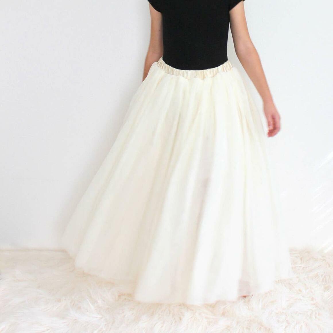Cream Full Length Tulle Skirt | Trada Marketplace