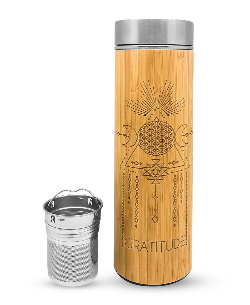 16.9oz GRATITUDE Bamboo Water Bottle | Trada Marketplace