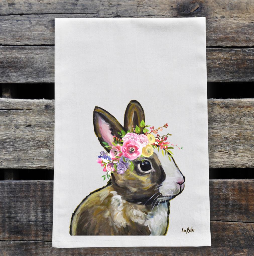 Spring Flower Bunny Tea Towel, Rabbit Towel Decor   Trada Marketplace