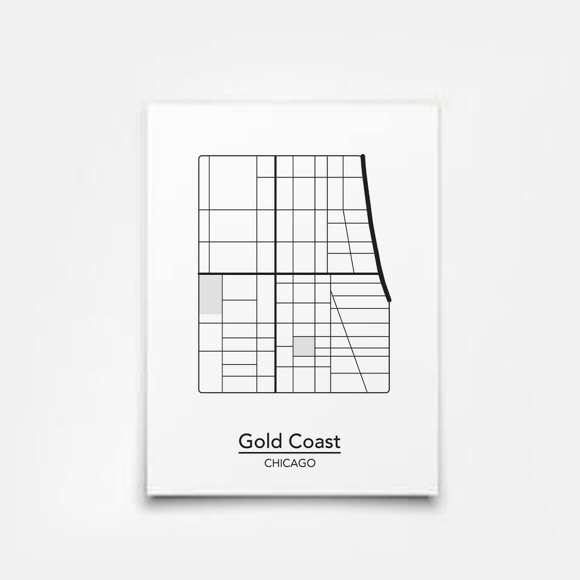 Gold Coast - Chicago Neighborhood Map Print | Trada Marketplace