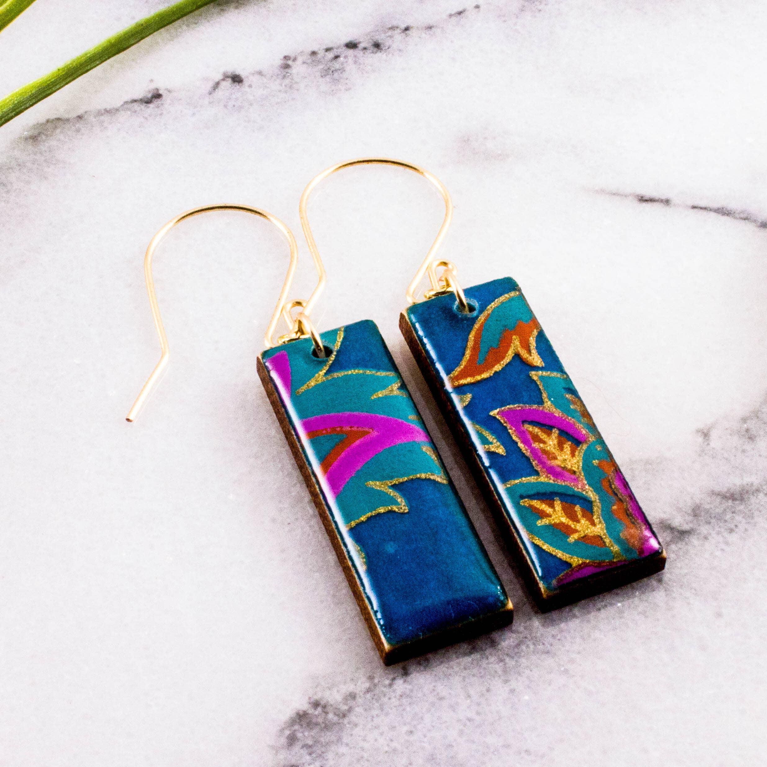 Turquoise Paisley Rectangle Earrings   Trada Marketplace
