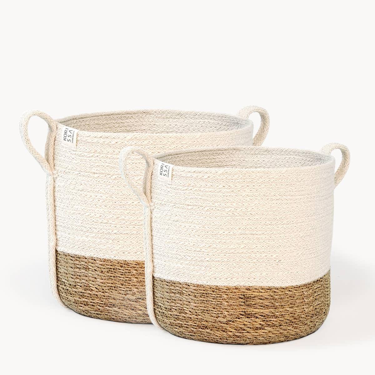 Savar Basket with Side handle (Set of 2) | Trada Marketplace
