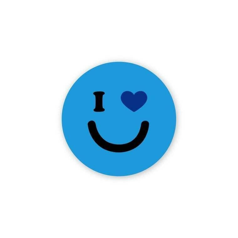 "I Heart You Blue Smiley 3"" Round Sticker | Trada Marketplace"