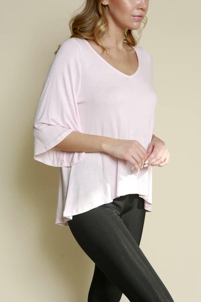 PRE-WASHED RAYON Hi-Low Flared Top (Material: 95% Rayon/5% Spandex) (Size Prepack: 1–1–1;S–M–L)   Trada Marketplace