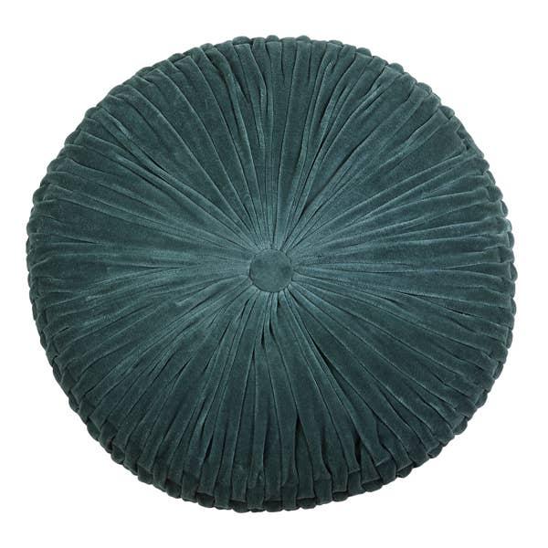Velvet Round Cushion - Evergreen - 16 x 16   Trada Marketplace