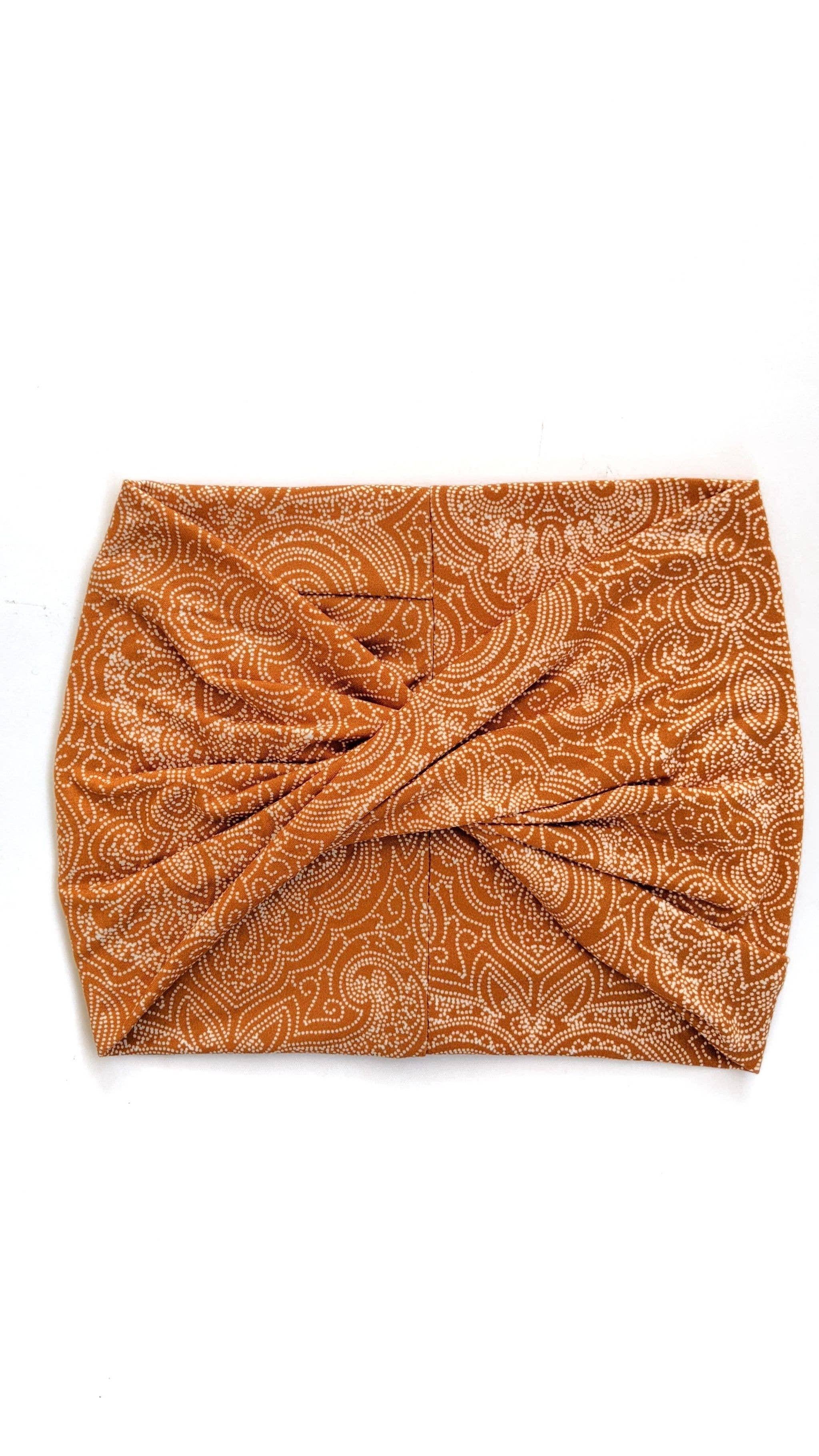Orange Boho- Wide Headband | Turban | Twist | Yoga | Trada Marketplace