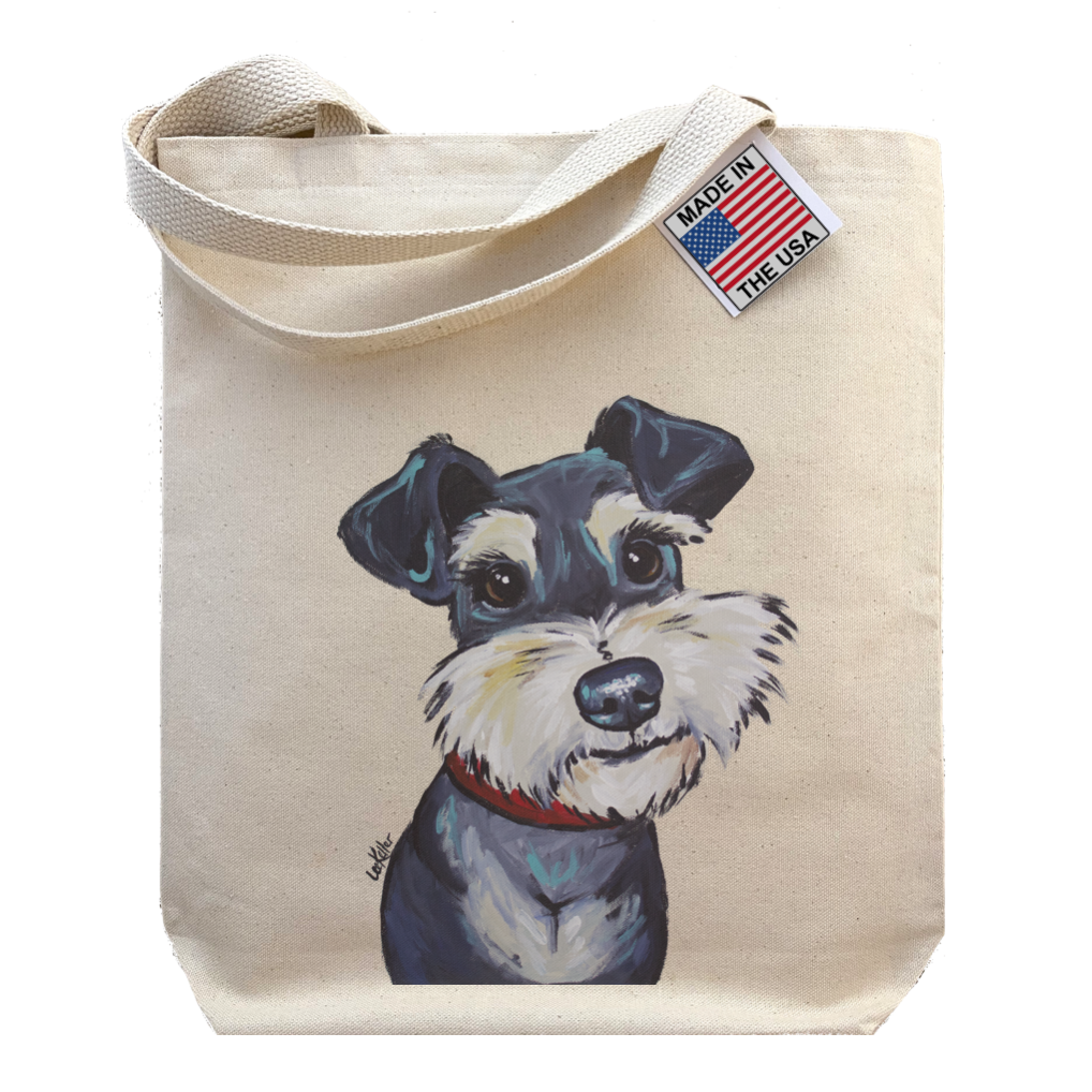 Gusseted Tote Bag, Schnauzer Canvas Tote, Schnauzer Gift   Trada Marketplace