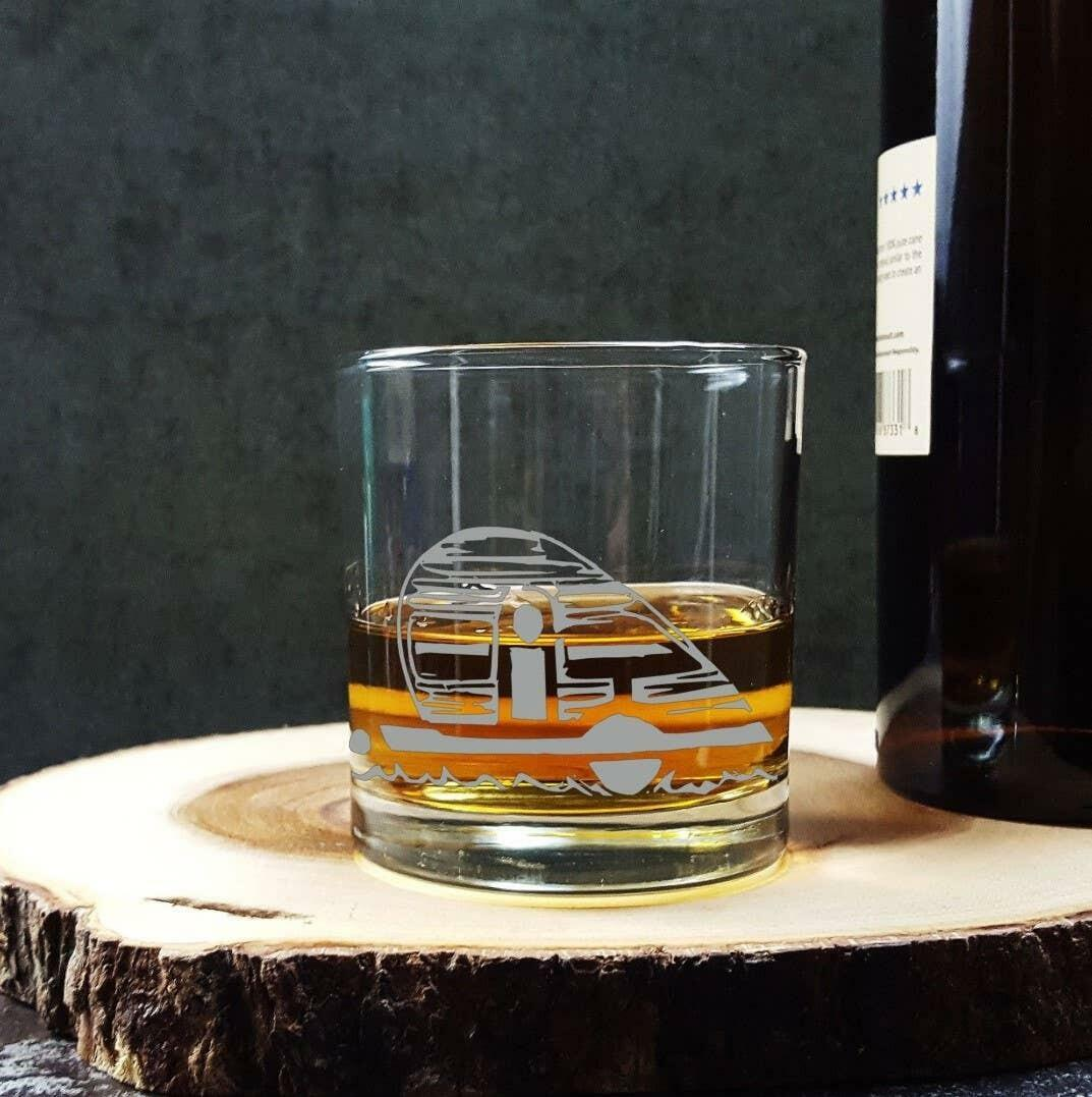 Teardrop Trailer Etched Whiskey Glass   Trada Marketplace