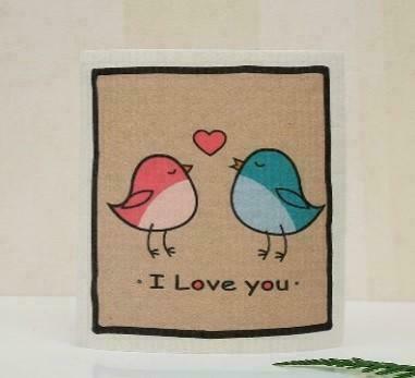 Love Birds Swedish Dishcloth   Trada Marketplace