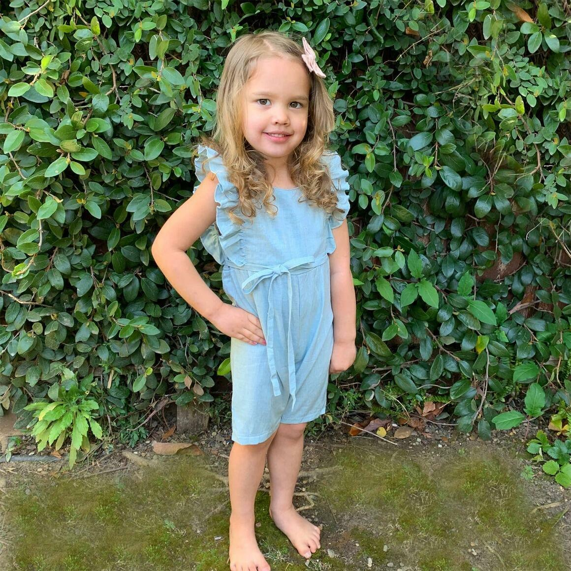 Light Blue Linen Ruffle Romper with Shorts   Trada Marketplace