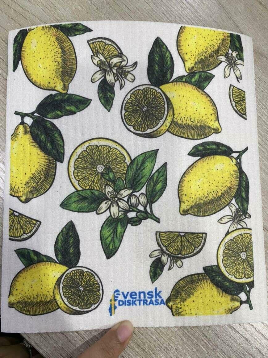 Lemons Line Drawing with Leaves Swedish Dishcloth   Trada Marketplace