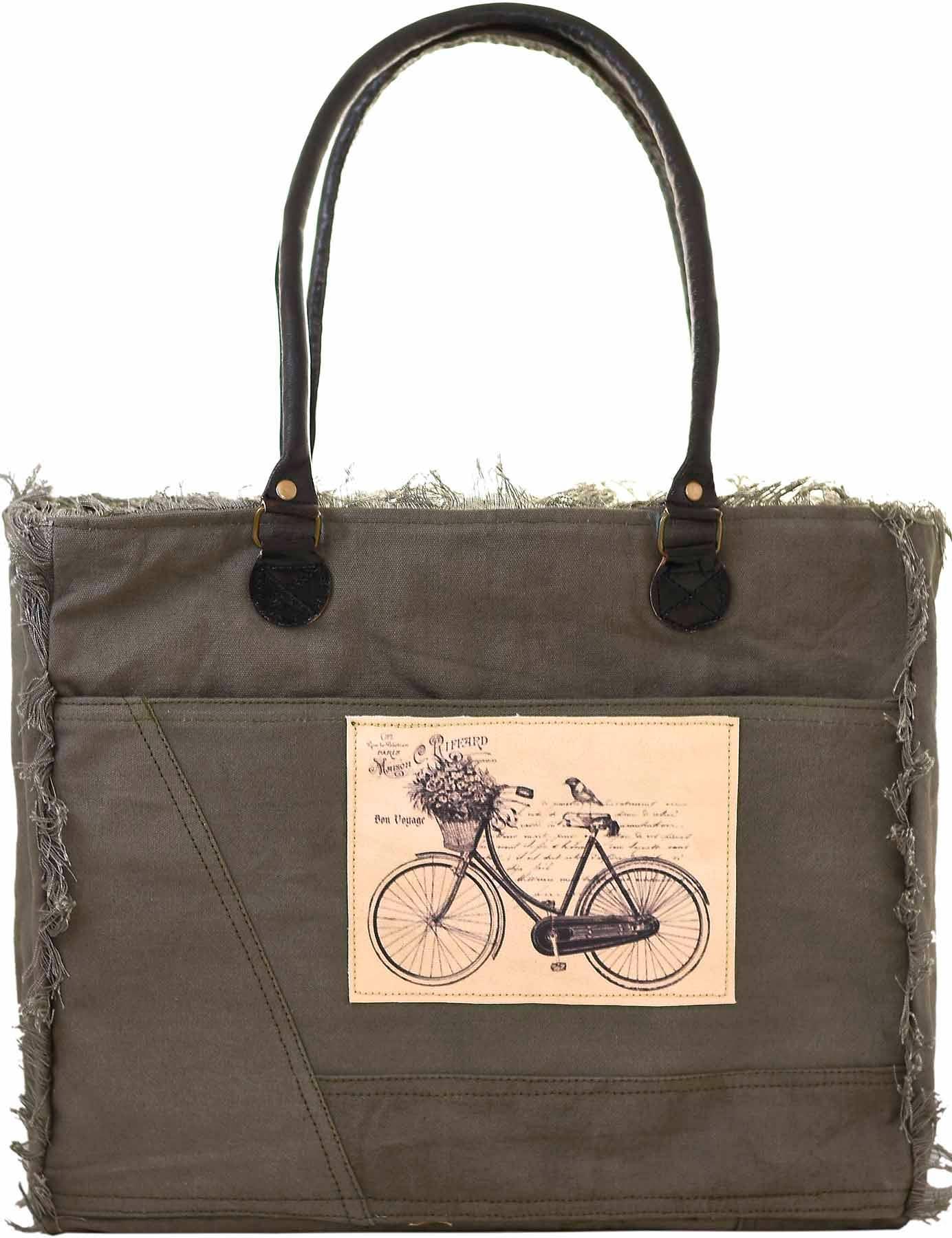 Bon Voyage Bicycle Canvas Tote   Trada Marketplace