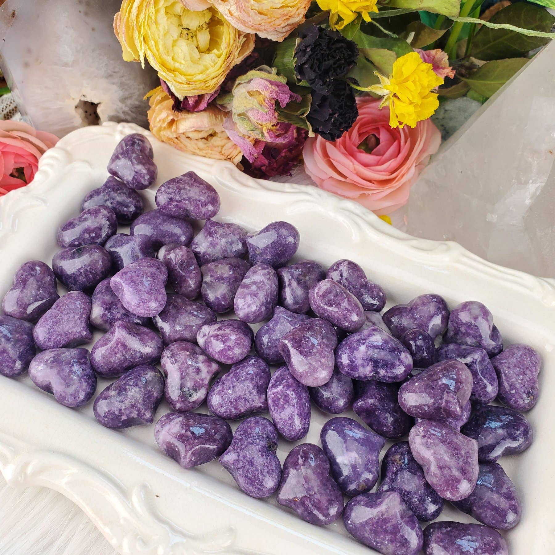 Lepidolite Crystal Pocket Hearts   Trada Marketplace