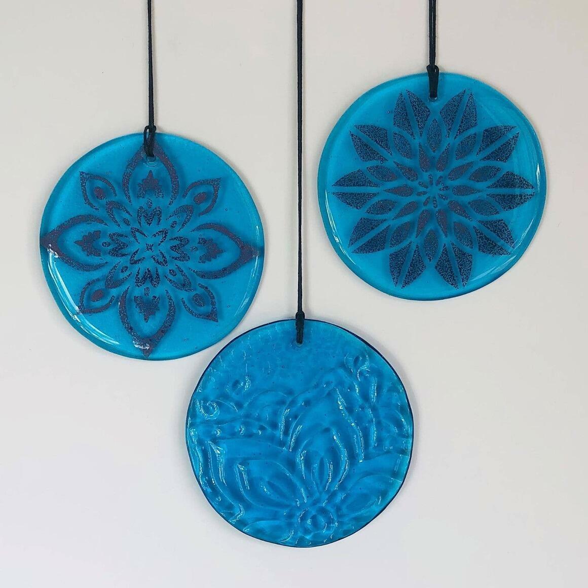 Glass Mandala Window Ornament Suncatcher - Ocean Blue | Trada Marketplace