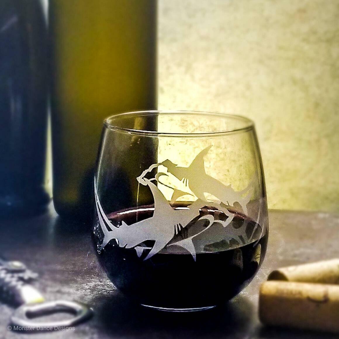 Hammerhead Shark Stemless Wine Glasses   Trada Marketplace