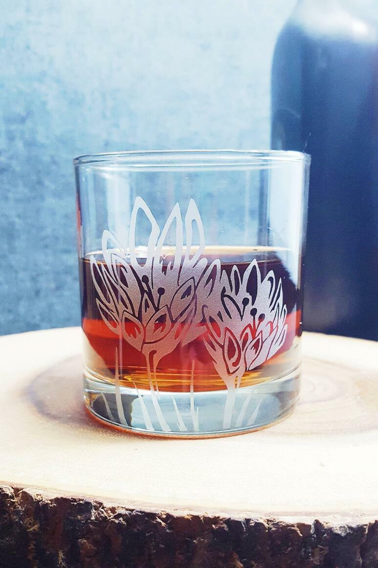 Lotus Etched Whiskey Glass   Trada Marketplace