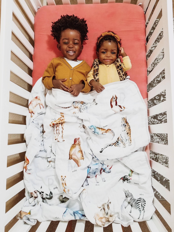 Cotton Muslin Watercolor Animal Alphabet Blanket | Trada Marketplace