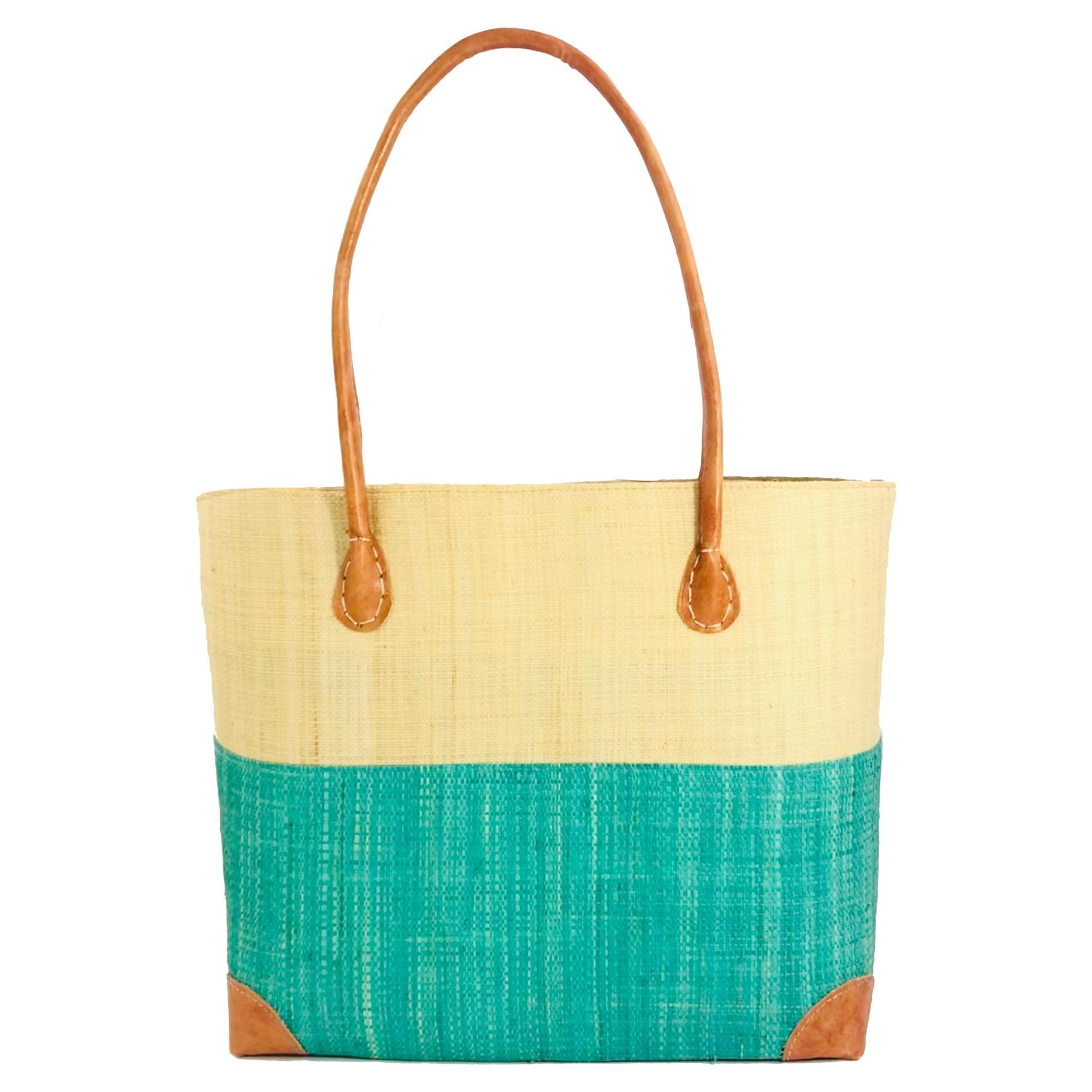 Trinidad Two Tone Straw Basket - Mint | Trada Marketplace