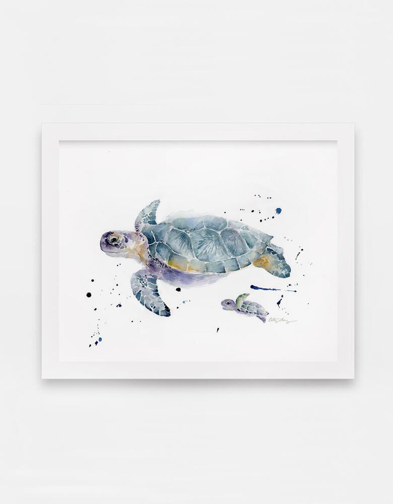 Sea Turtles Swim Along Art Print | Trada Marketplace