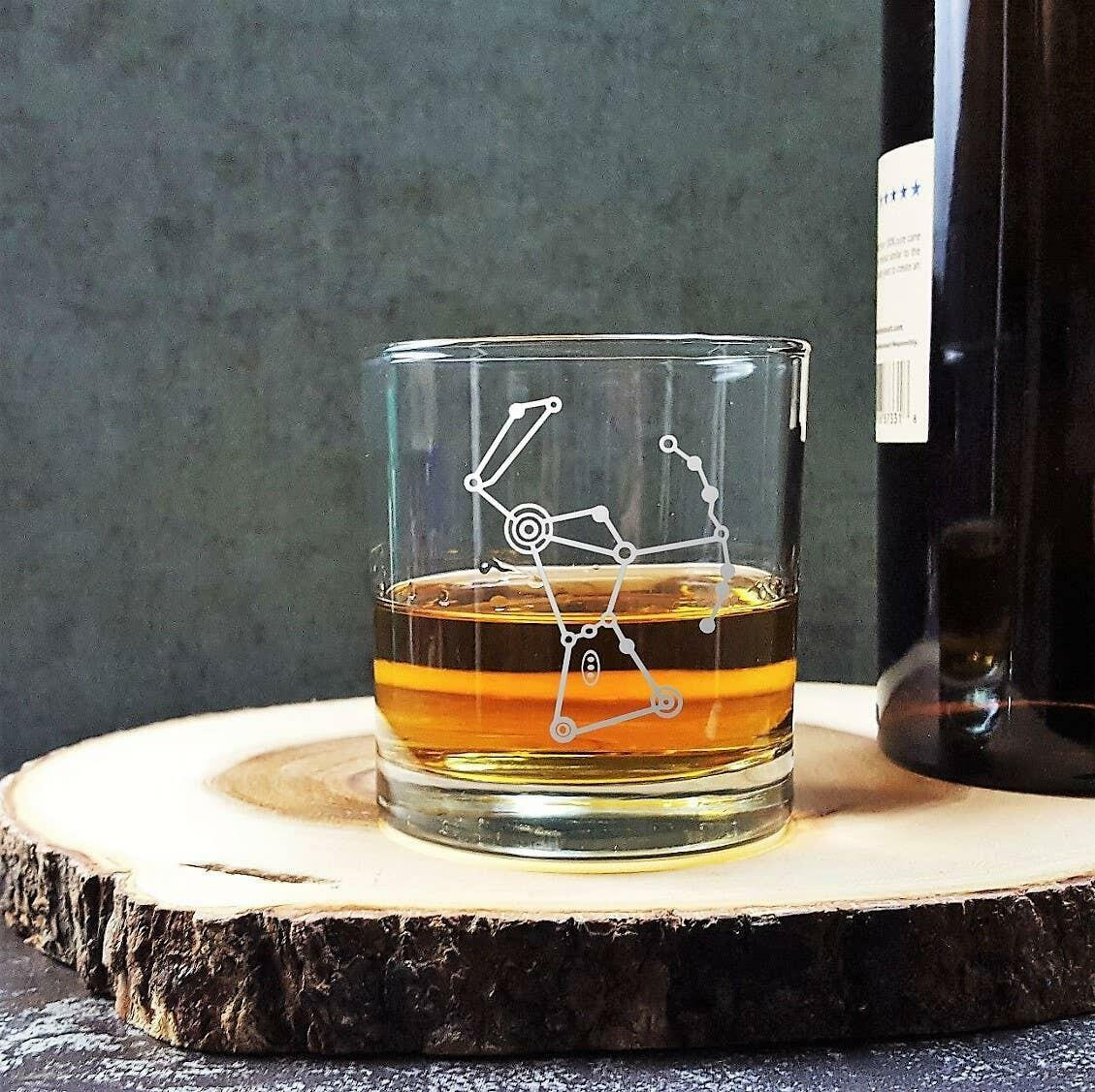Orion Constellation Etched Whiskey Glass   Trada Marketplace