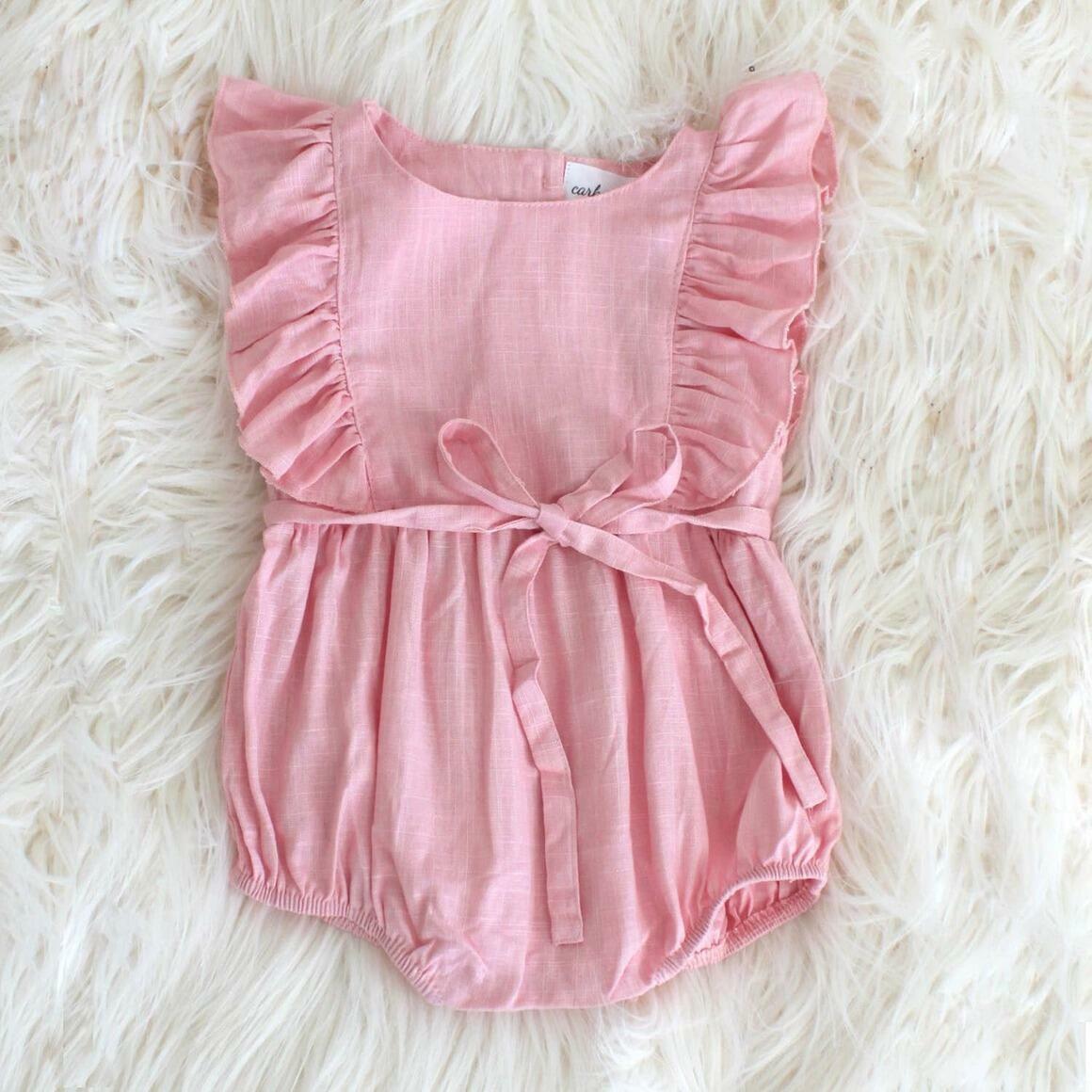Light Pink Linen Ruffle Romper | Trada Marketplace