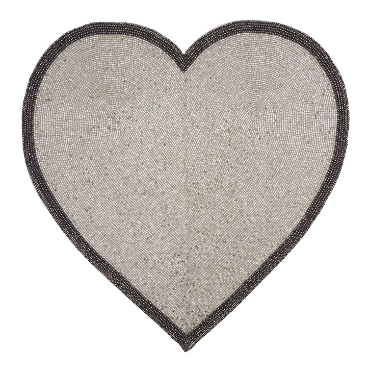 Beaded Silver Heart Placemat / Set of 4   Trada Marketplace