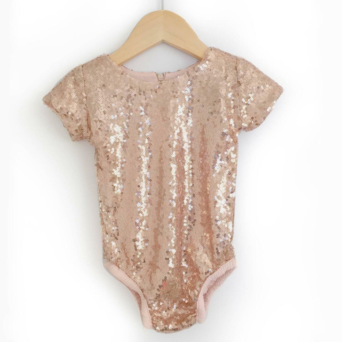 Rose Gold Sequin Leotard with Short Sleeves   Trada Marketplace