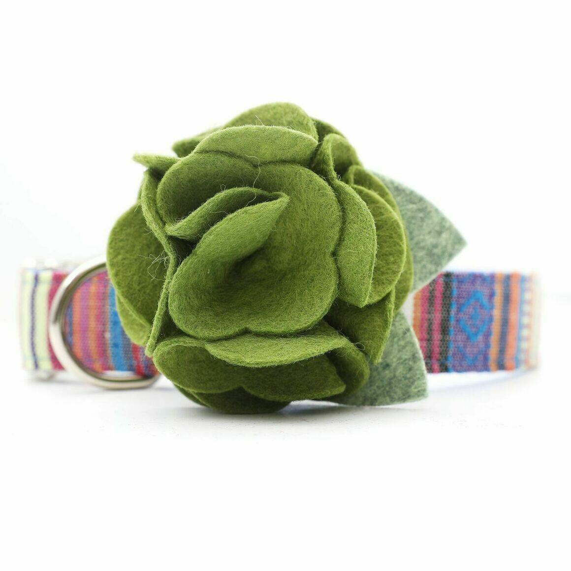 Dog Collar Hydrangea Flower - Moss Green   Trada Marketplace