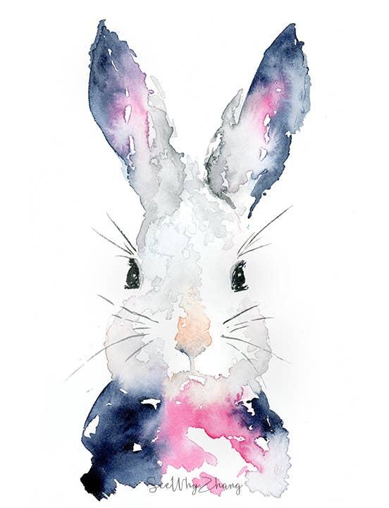 8'' x 10'' Navy Bunny Art Print | Trada Marketplace