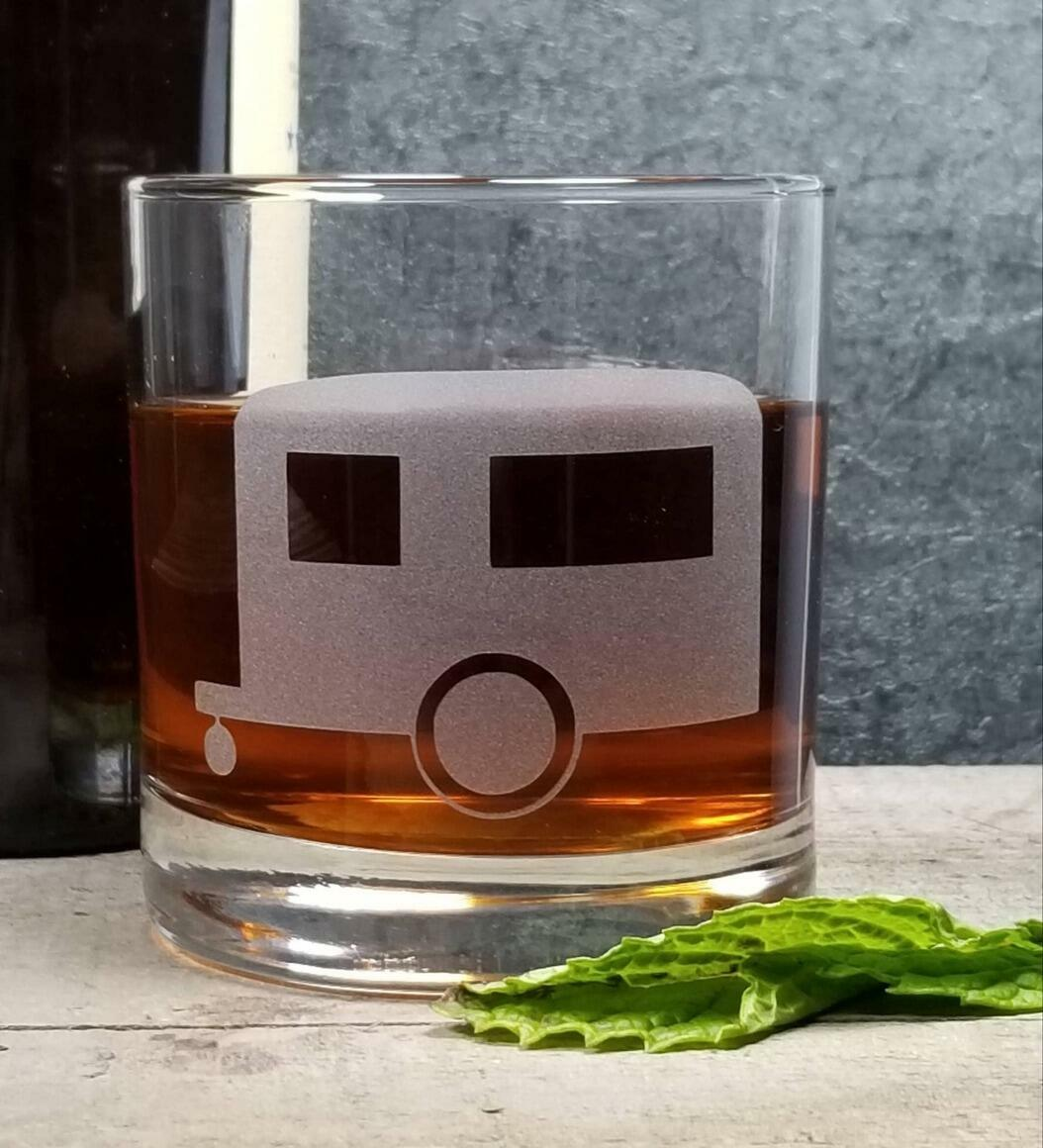 Camper Airstream Trailer Etched Whiskey Glass   Trada Marketplace