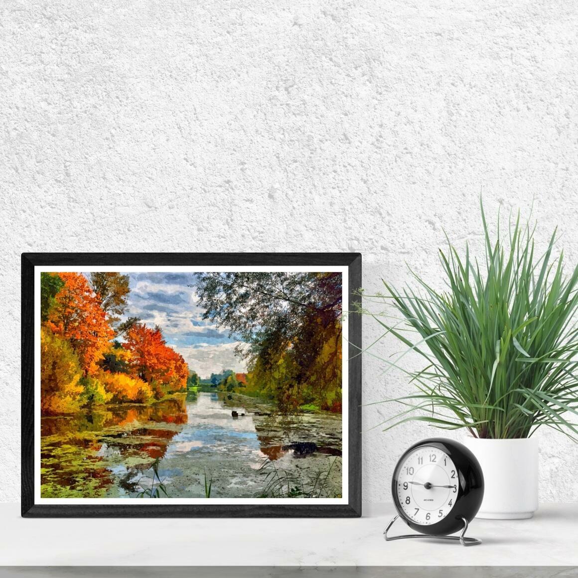 """Lakeside Autumn Trees"" Fine Art Print | Trada Marketplace"