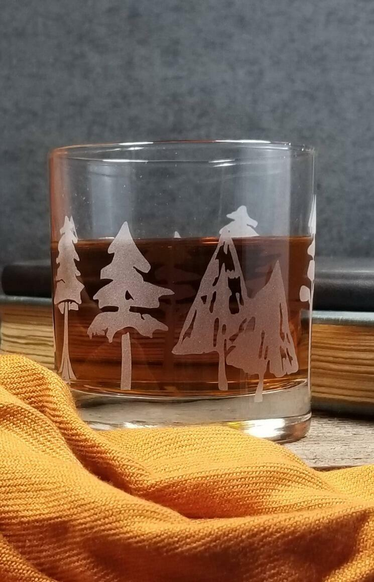 Woodland Forest   Etched Whiskey Glass   Trada Marketplace