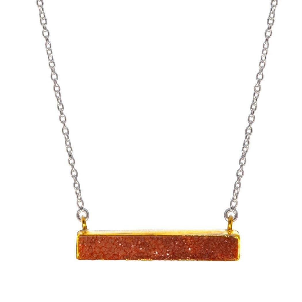 20% OFF Artisan Vermeil Peach Druzy Bar Sterling Necklace   Trada Marketplace