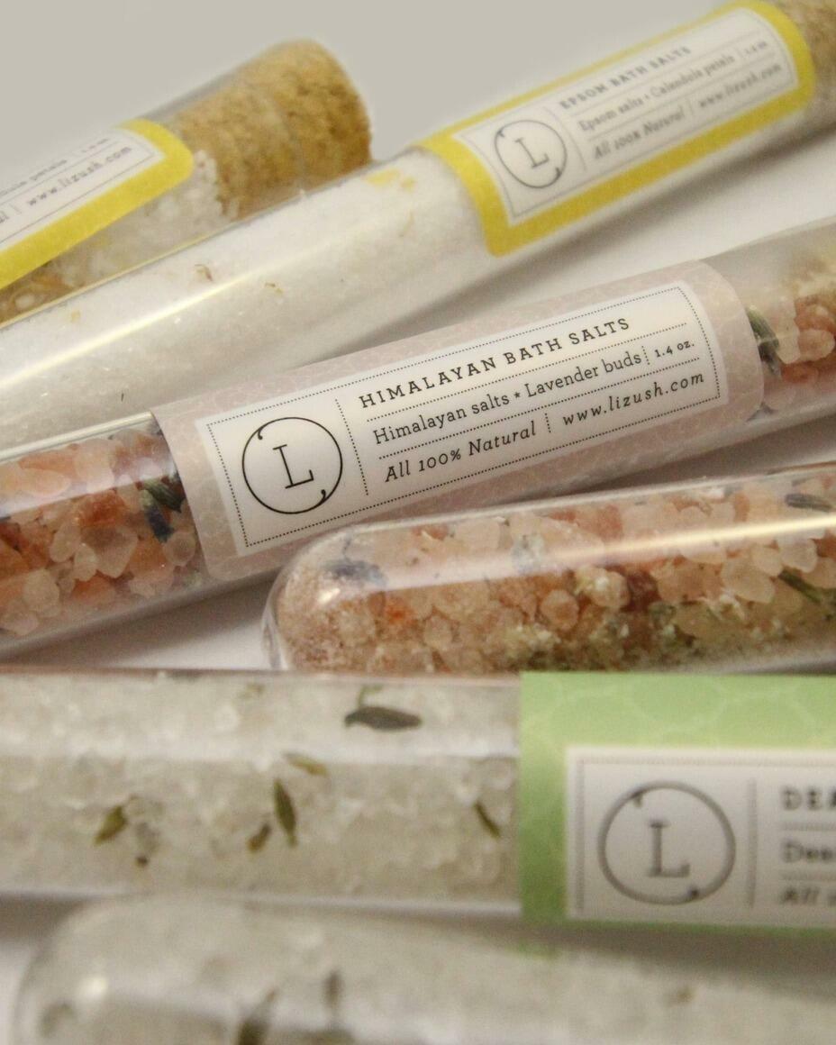 NEW BATH SALTS IN A 8'' GLASS TUBE-bath soak, bath salts   Trada Marketplace