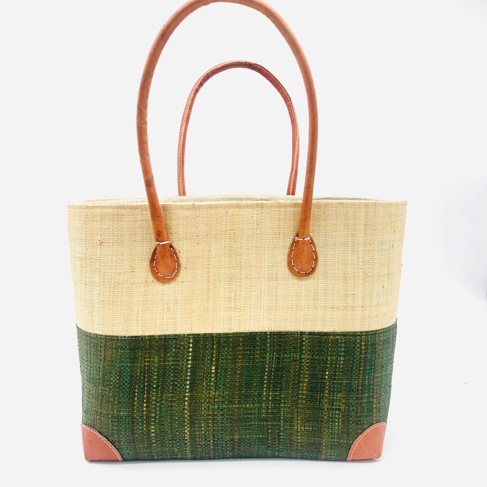 Trinidad Two Tone Straw Basket - Olive | Trada Marketplace