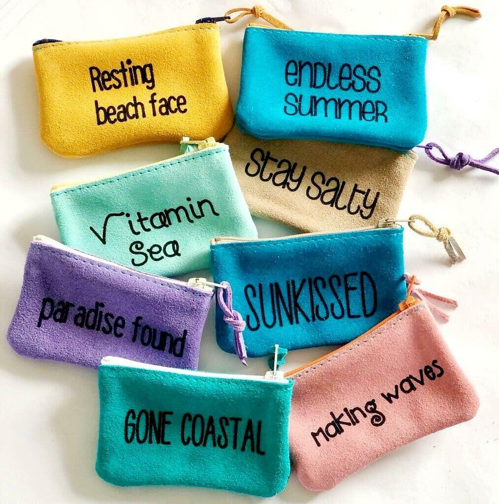 Beachy Leather word Pouch set small | Trada Marketplace