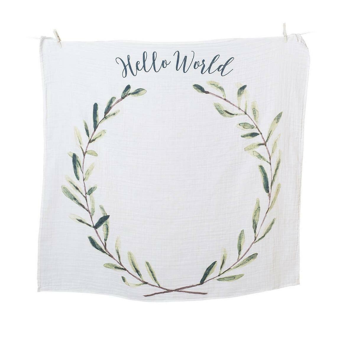 Single Cotton Swaddle & Cards - Hello World   Trada Marketplace