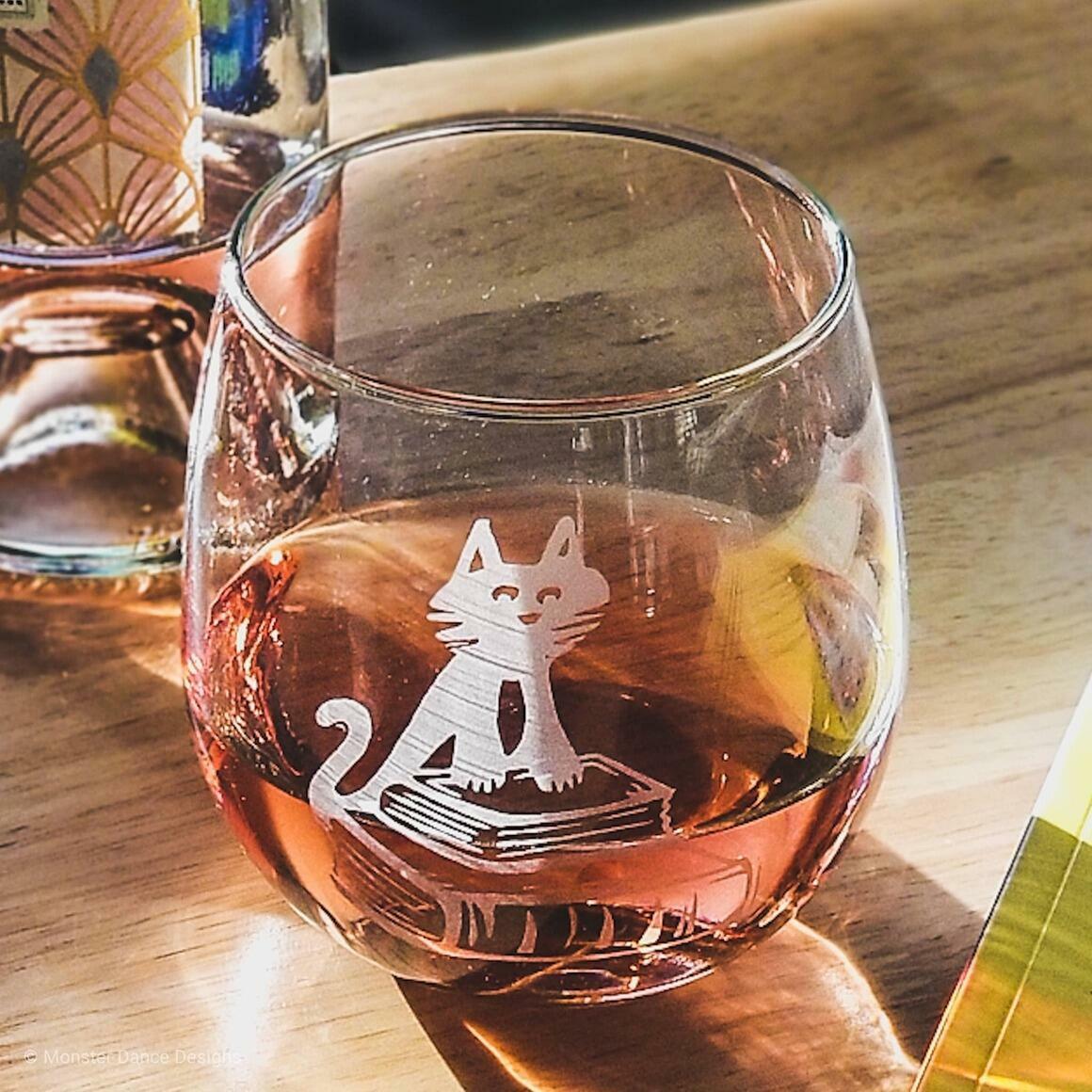 Cat Books Stemless Wine Glass   Trada Marketplace