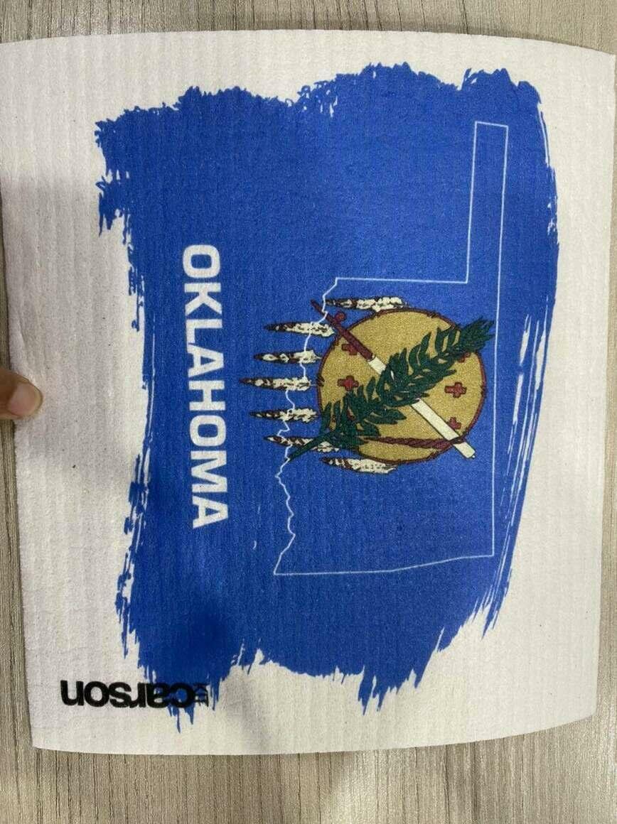 Oklahoma State Flag Swedish Dishcloth   Trada Marketplace