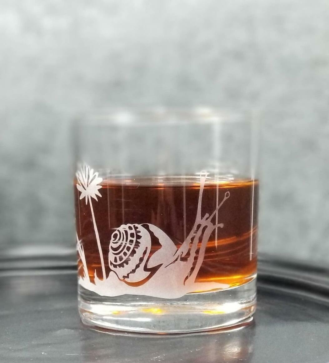 Garden Snail Etched Whiskey Cocktail Glass   Trada Marketplace
