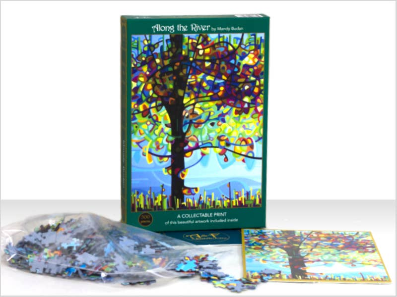 Along the River; 500-Piece Velvet-Touch Jigsaw Puzzle by Canadian Artist Mandy Budan | Trada Marketplace