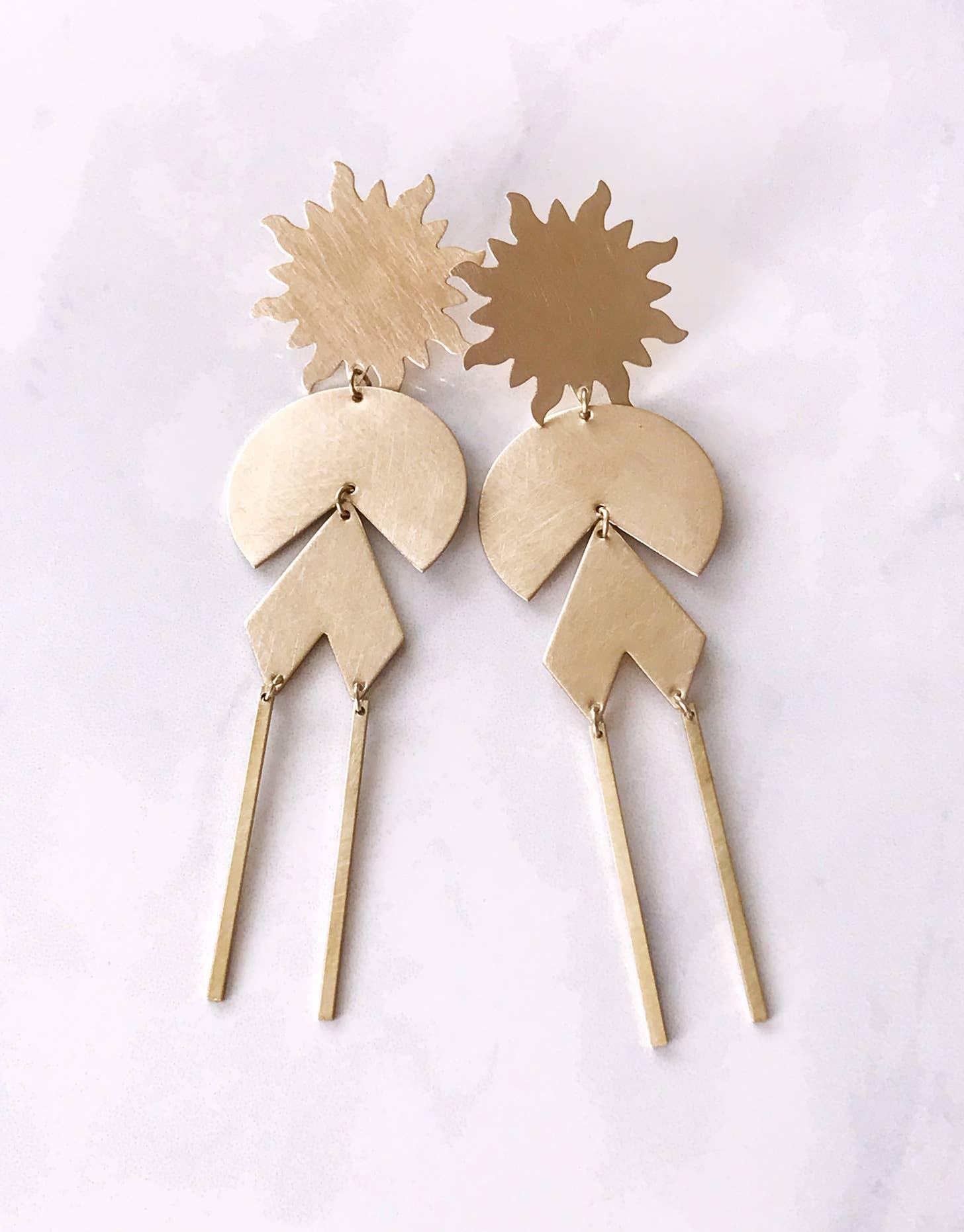 solar power earrings - brushed brass   Trada Marketplace