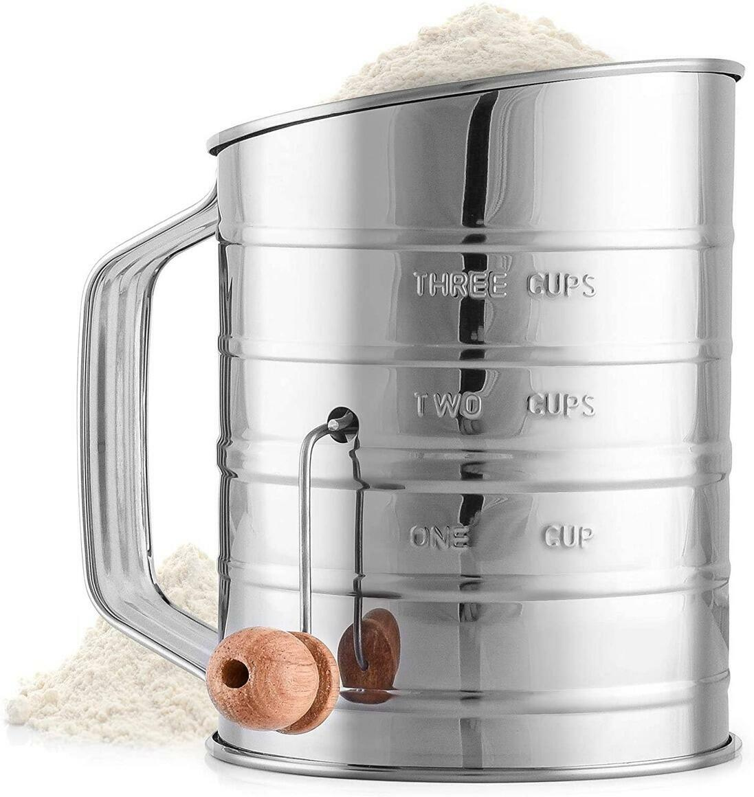 Flour Sifter with Agitator Wire Loop For Baking Cakes & More | Trada Marketplace