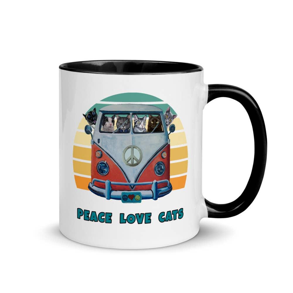 Cat Mug, Peace Love Cats Coffee Mug, Cat Gifts   Trada Marketplace