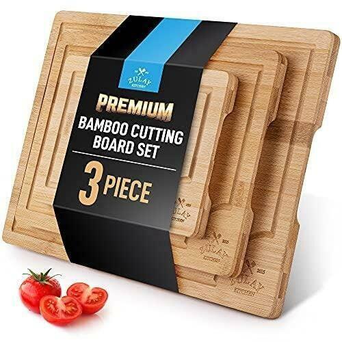 3-Piece Bamboo Cutting Board With Juice Groove | Trada Marketplace
