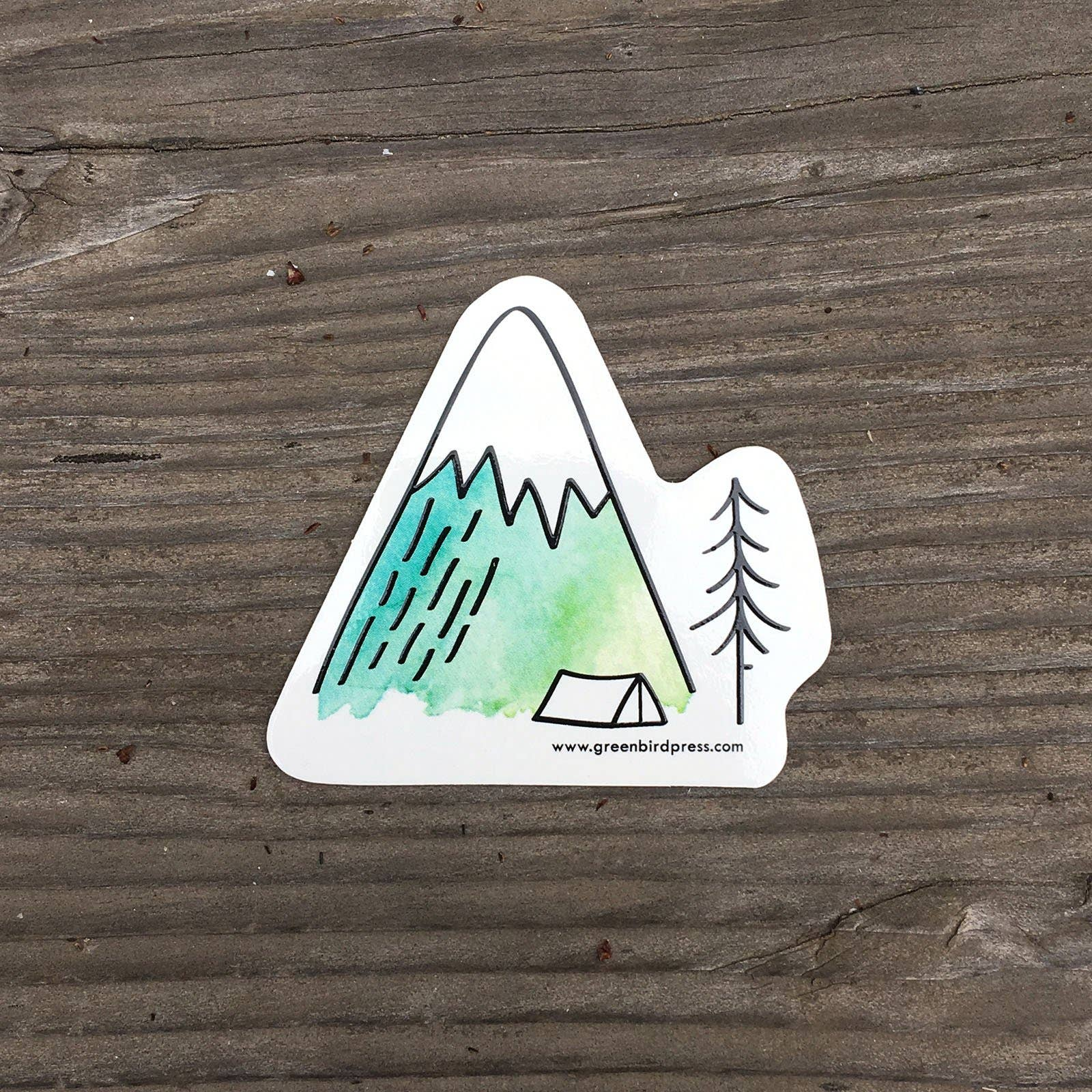 Camping in the Mountains Sticker | Trada Marketplace