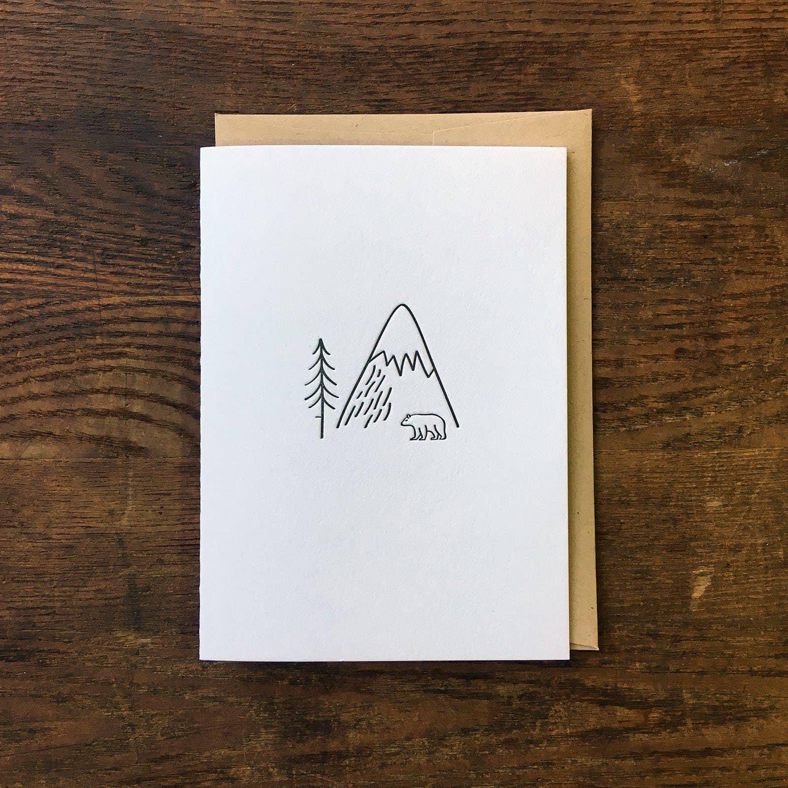 Minimal Adventure Bear in the Wild Letterpress Card | Trada Marketplace