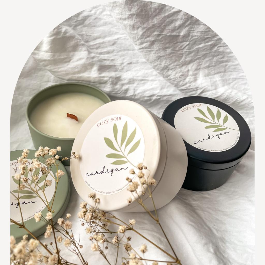 Cardigan 5oz | Tin Jar | Wooden Wick | Non-toxic  | Trada Marketplace