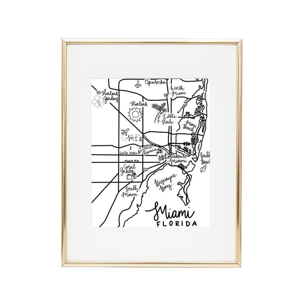 "8"" x 10"" Miami Art Print - Black and White | Trada Marketplace"