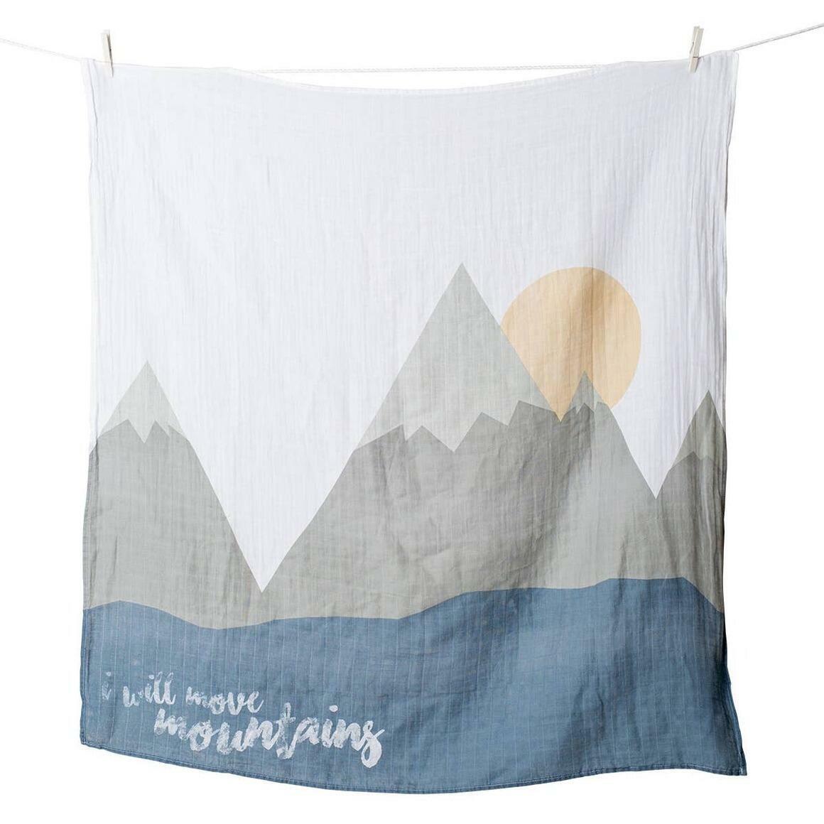 Single Cotton Swaddle & Cards - I Will move Mountains   Trada Marketplace